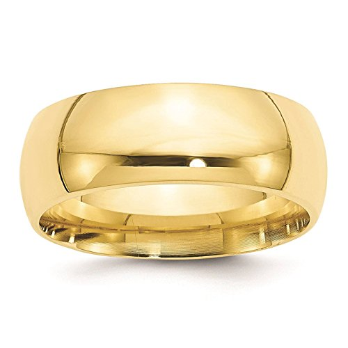 10K Yellow Gold 8Mm Standard Comfort Fit Wedding Ring Band Size 11