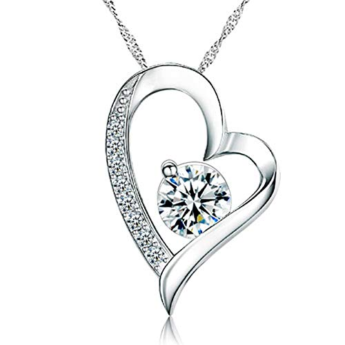 Moonlight Collections 925 Sterling Silver Clear cz April Birthstone Floating Heart Pendant Necklace ()
