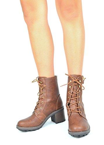 Chase & Chloe Benson-1 Kvinner Combat Boots Med Blonder-up Side Glidelås Og Chunky Hæl Cognac