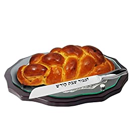 High Carbon Stainless Steel Shabbat Kodesh Classic Straight Blade Challah Knife 97 •	Like all high quality ICEL Knifes this Shabbat Kodesh knife is made from high quality carbon stainless steel. The stainless steel knife looks sleek & beautiful and at the same time very strong in quality and can be sharpened over and over. •	This quality Shabbat kodesh challah knife comes with a very nice gift packaging perfect for gift to newlyweds, new homeowners or for any upgrade Shabbat table. •	This knife is custom designed with a 5-inch designed handle and an 8-inchstraight blade which have engraved lkuved Shabbat kodesh.
