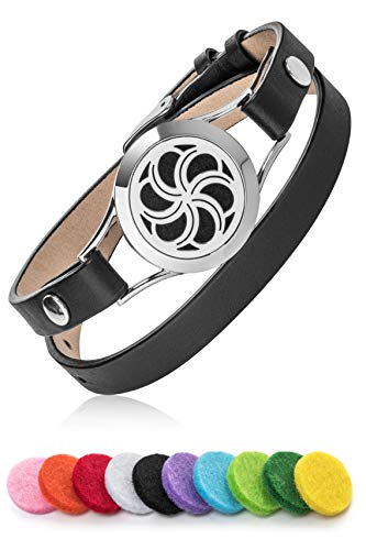 Premium Aromatherapy Essential Oil Diffuser Bracelet For Women | Stylish & Elegant Windmill Pendant & Luxurious Black Leather Strap | Perfect Gift Idea | Includes 10 X Colorful Oils Pads & Tweezers