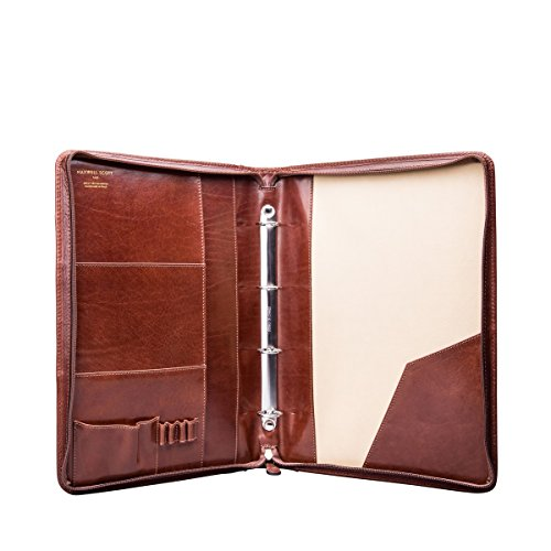 Maxwell Scott Luxury Tan Brown Leather Conference Folder with Ringbinder / Zipped (The Veroli)
