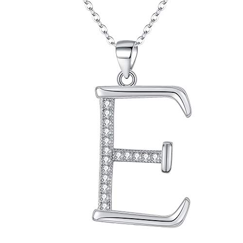 EVER FAITH 925 Sterling Silver CZ Cursive Initial Alphabet Letter E Adjustable Pendant Necklace ()