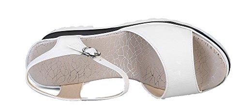Unie GMBLB014821 à Couleur AgooLar Boucle Talon Sandales d'orteil Haut Blanc Femme Ouverture xaFRXqZ