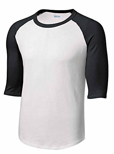 Mens or Youth 3/4 Sleeve 100% Cotton Baseball Tee Shirts Youth S to Adult 4X WH/BLK-L