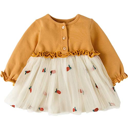 Gotd Toddler Infant Baby Girl Clothes Winter Long Sleeve Floral Casual Princess Tulle Dress Spring Outfits Gifts Christmas (<br><br>❤️ 12-18 Months, Yellow)