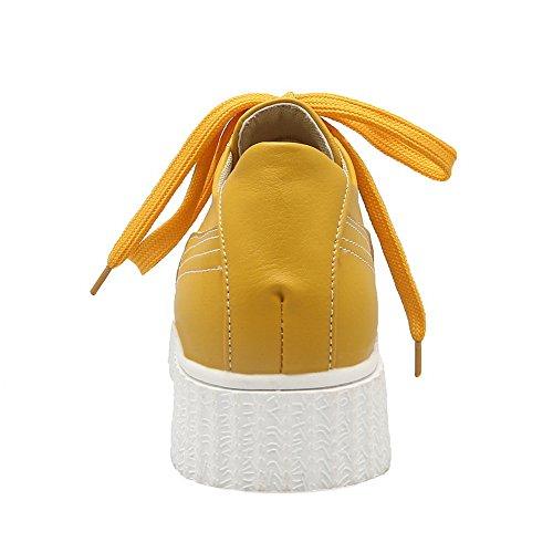 Balamasa Damene Bandasje Plattform Rund Tå Imitert Skinn Pumper-sko Gul