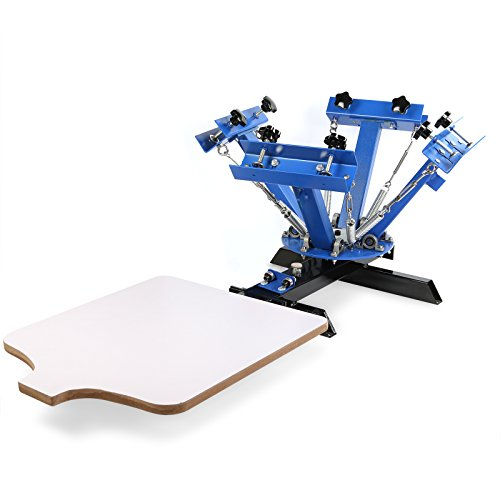 VEVOR Screen Printing Machine 4 Color 1 Station Silk Screen Printing Machine 17.7x21.7Inch Screen Printing Press for T-Shirt DIY Printing Removable Pallet (4 Color 1 Station) from VEVOR