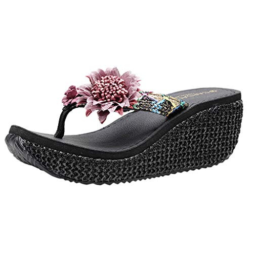 FengGa Flowers Wedges Sandals Summer Women Ladies Fashion Comfy Pearl Loafer Causal Beach Slipper Shoes Black