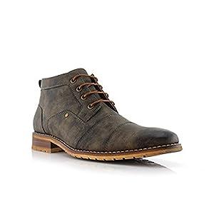 Ferro Aldo Blaine MFA806035 Mens Casual Brogue Mid-Top Lace-up and Zipper Boots – Grey, Size 10