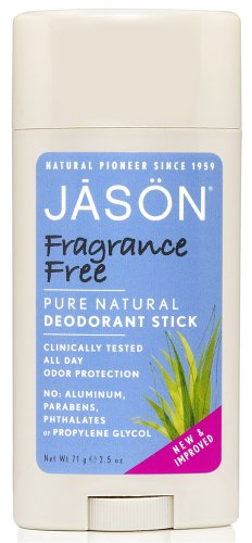 JASON Fragrance Free Deodorant Stick, 2.5 Ounce Tubes (Pack of 3)