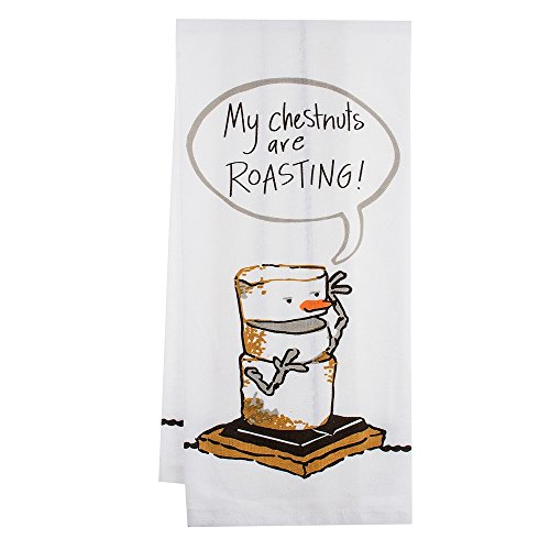 Midwest 139409 Toasted S'mores My Chestnuts are Roasting Tea Towel (Marshmallow Ornament)