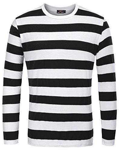 PAUL JONES Men Crew Neck Stripes Pattern Long Sleeves Tee Shirt,Black (Wide - Long Henley Sleeve Striped Shirt
