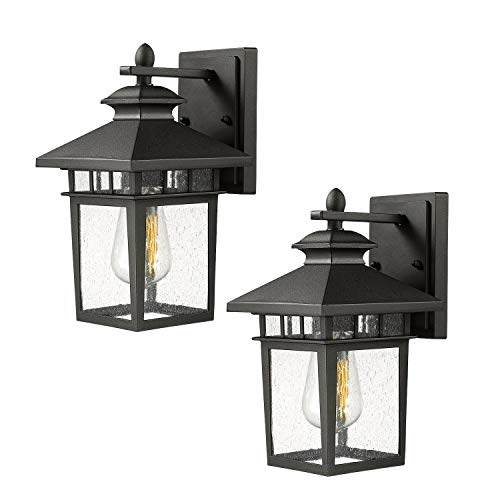 Outdoor Wall Light Sconce, Beionxii 2-Pack Exterior Wall Mount Lantern, Matte Black Finish with Seeded Glass Panel Porch Lighting Fixtures