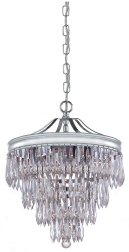 Crystorama 120-CH-CL-MWP Transitional Three Light Mini Chandelier from Chloe collection in Chrome, Pol. Nckl.finish,