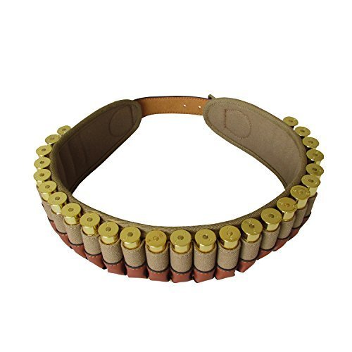 [Tourbon 20 Gauge Shotshell Bandolier Cartridge Ammo Carrier Ammunition Belt - Canvas and Leather] (Bandolier Belt)