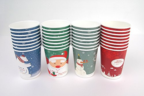Set of 32 Christmas Design 10oz Disposable Hot Beverage Insulated Paper Party Cups 8 of Each Design Wedding Birthday Graduation Office Party Supplies Decorations Wholesale Takeout Coffee Cup (B Type)
