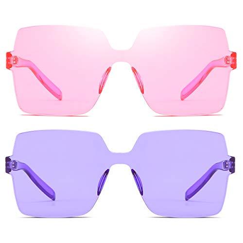 Rimless Mens Lens - Oversized Square Candy Colors Transparent Lens Rimless Frame Unisex Sunglasses (06Pink/Purple)