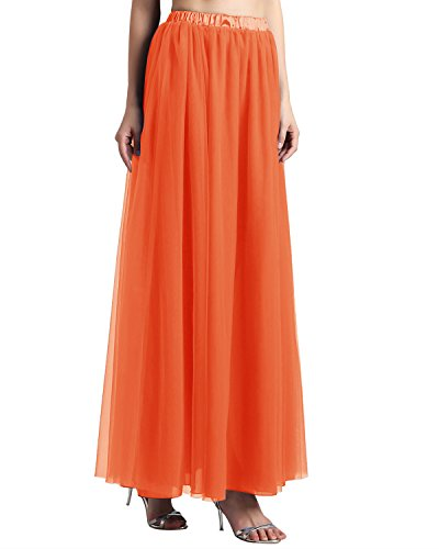 Bridesmay Women's Long Tulle Skirt Maxi Prom Evening Gown Bridesmaid Formal Skirt Orange L