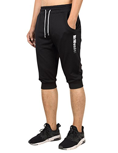 MrWonder Men's Casual Slim Fit Elastic Three-Quarter Jogger Sweatpants Drawstring Pockets Running Pants