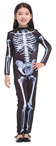 Skeleton Costumes For Girls (Children Skeleton Halloween Costumes Role Play Girls Cosplay Jumsuit Dress Up (X-Large))
