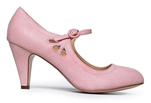 Mary Heels Pink Jane Kitten An By B Round Strap Pumps Toe Adjustable Unique Rose With US Shoes Adorable 8 Vintage Zooshoo Design M d5xxwU6rEq