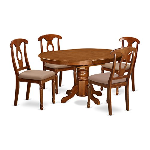 East West Furniture AVNA5-SBR-C 5-Piece Dining Table Set ()