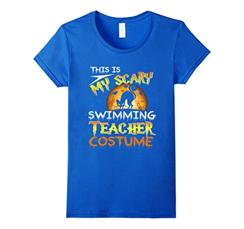 Swimming Costume For Ladies Amazon (Womens My Scary Swimming Teacher Costume Shirt Cat Moon Halloween Large Royal Blue)
