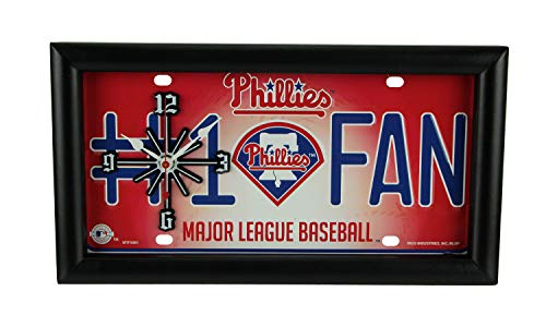 Good Tymes Enterprises, Inc. MLB Philadelphia Phillies Number 1 Fan License Plate Mantel or Wall Clock