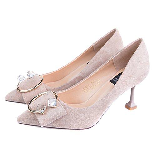 Tacón Estrecha Zapatos Mujer Trabajo Cy Oficina Sandalias Aguja Imitación Alto Beige La De Punta Señora Diamantes qSC0dCwE