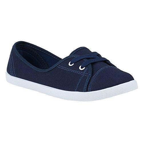 Slipper Weiss Sneakers Print Damen Stiefelparadies Schnürer Lochung Flats Gesteppt Blau Animal Bequeme Muster Ballerinas Denim Stoffschuhe Flandell Spitze Camouflage Dunkelblau pHI5w65qx