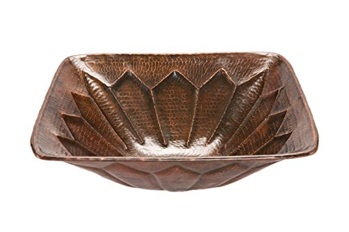 Premier Copper Products VS16FDB Square Feathered Vessel Hammered Copper Sink, Oil Rubbed Bronze
