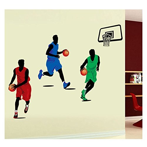Amaonm® Removable DIY Three Players Playing Basketball Wall Decal Slam Dunk Basketball Players Wall Stickers Murals Peel Stick Wall Decor For Kids Room Child Bedroom Classroom Boys Palyroom