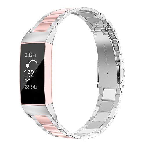 Wearlizer Stainless Steel Compatible for with Fitbit Charge 3 Bands/Charge 3 SE Women Men,Ultra-Thin Lightweight Color Matching Replacement Band Strap Accessories for Fitbit Charge 3 Rosegold+Silver