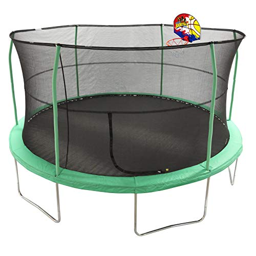 JumpKing 15 Bounce N Dunk Trampoline Enclosure Combo with Basketball Hoop Green