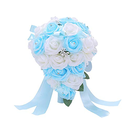 Wedding Bouquet Simple Bridal Bouquet Handmade Foam Flower Bouquets for Wedding Accessories,Sky Blue and White