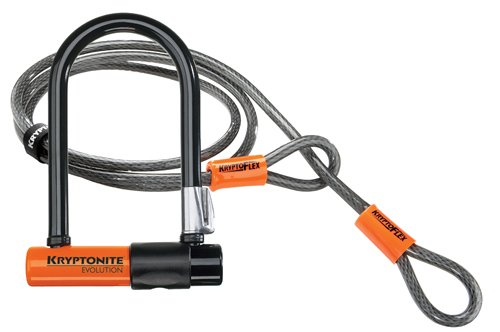 Kryptonite Bügelschloss Evo. Mini-7 + KFlex 120 cm m. Flex Frame Halter, 3500340