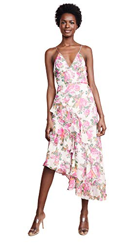 Keepsake The Label Women's Oblivion Sleeveless Asymmetrical Long Midi Dress, Ivory Rose Floral, m