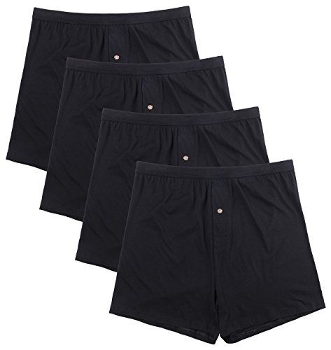 Innersy Men's 4 Pack Ultimate Soft Stretchy All Cotton Knit Boxers (S, 4 Black)