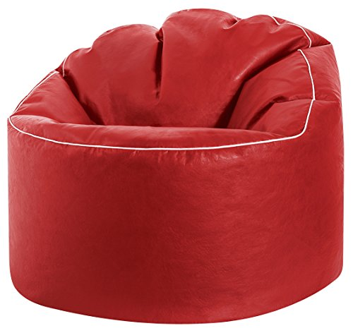Gouchee Home Tube Cosy Collection Contemporary Faux Leather Upholstered Round Bean Bag Chair, Red (Bean Leather Chairs Bag Faux)