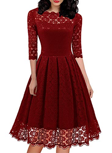 Petite Woman Dress Formal Gowns with Sleeves Bridesmaid Party Lace A Line Dress Ladies Elegantes Special Occasion Dresses 595 (S, Red)