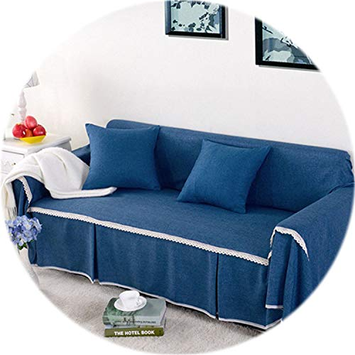Secret-shop 1pc Solid Color Fabric Sofa Cover Universal Sofa Towel All-Inclusive Dust Cover Couch Home Decoration,Color 9,3-Seater 215-300cm ()