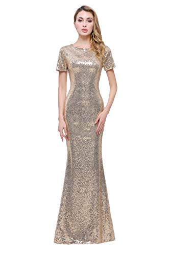 (Honey Qiao Sequins Gold Bridesmaid Dresses Long High Back Evening Party Dress)