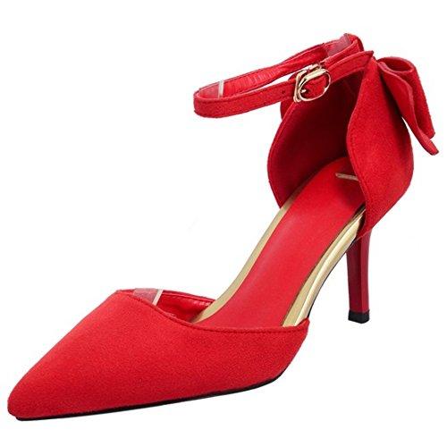 COOLCEPT Mujer Moda Correa de Tobillo Sandalias Tacon de Aguja Cerrado Zapatos con Bowknot Rojo