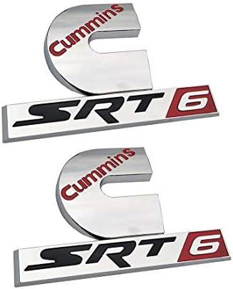Chrome 2Pcs Ram Cummins SRT6 Badge Emblem for Ram 2500 3500 Turbo Diesel SRT