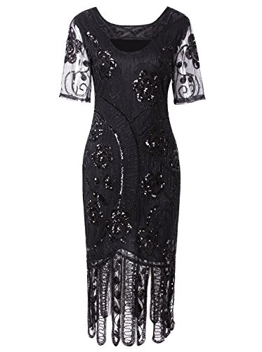(Vijiv Women 1920s Elegant Dresses Long Beaded Great Gatsby Flapper Dress with Sleeves for Evening Party, Black)