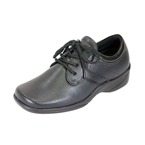 24 HOUR COMFORT Meg Women Extra Wide Width Lace Up Shoes BLACK 7 by 24 Hour Comfort