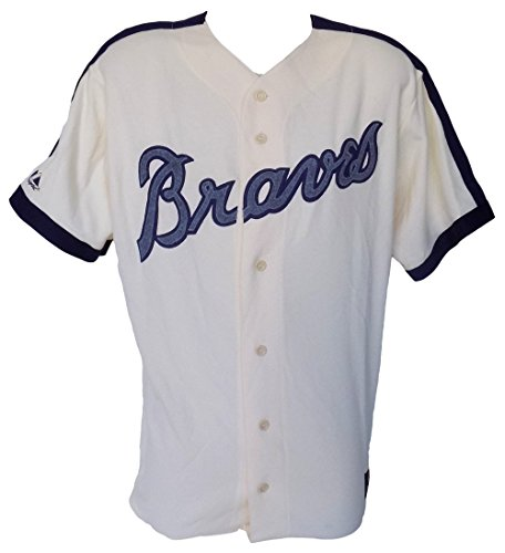 Atlanta Braves Majestic Cooperstown Collection Cream Jersey Size 2XL