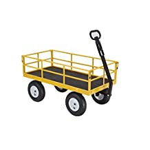 Gorilla Carts GOR1201B Heavy-Duty Steel Utility Cart with Removable Sides and 13-Inch Tires, 1200-Pound Capacity, Yellow