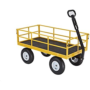 """Gorilla Carts Heavy-Duty Steel Utility Cart with Removable Sides and 13"""" Tires with 1200 lb Capacity, Yellow"""